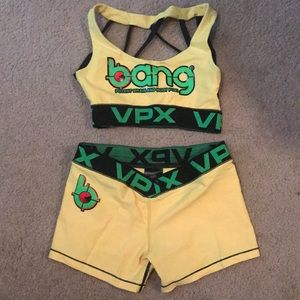 Bang Energy 2 piece set. Sports bra/shorts